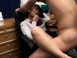 Fucked in the office in her super hairy wet cunt