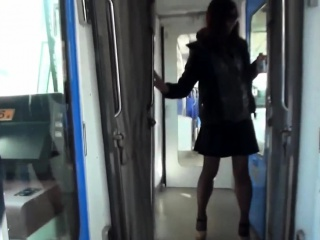 Asian pisses on train