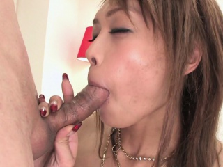 Alluring Asian fingered before riding a hard boner