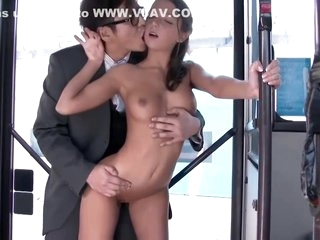 Sweet college girl is about to take off her clothes in the bus and have casual sex